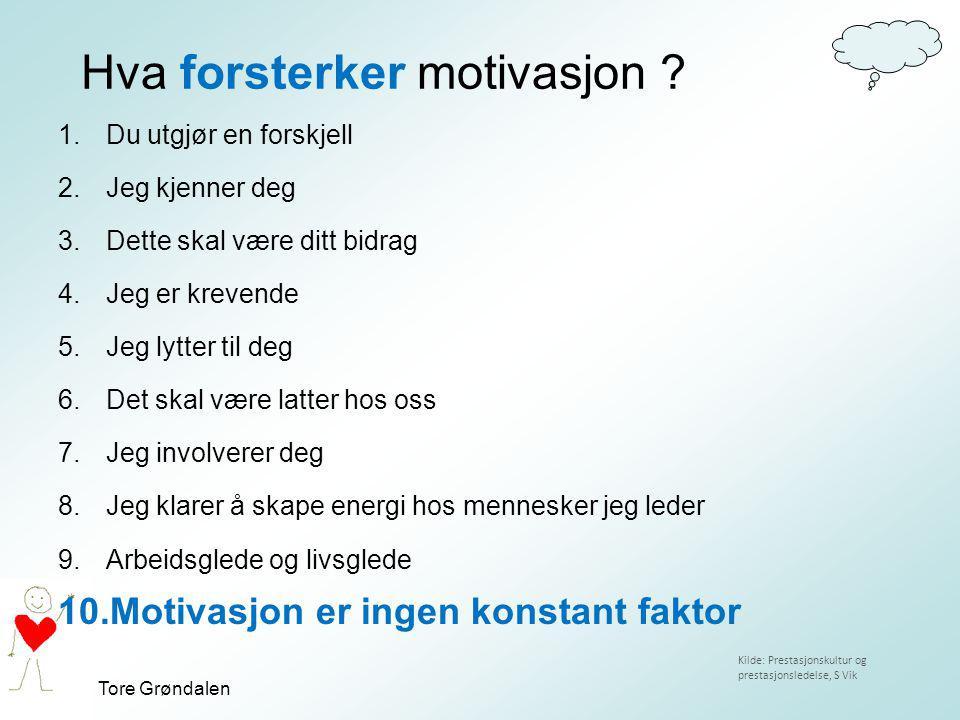 Tore Grøndalen Hva forsterker motivasjon ? 1.Du utgjør en forskjell 2.Jeg kjenner deg 3.Dette skal være ditt bidrag 4.Jeg er krevende 5.Jeg lytter til