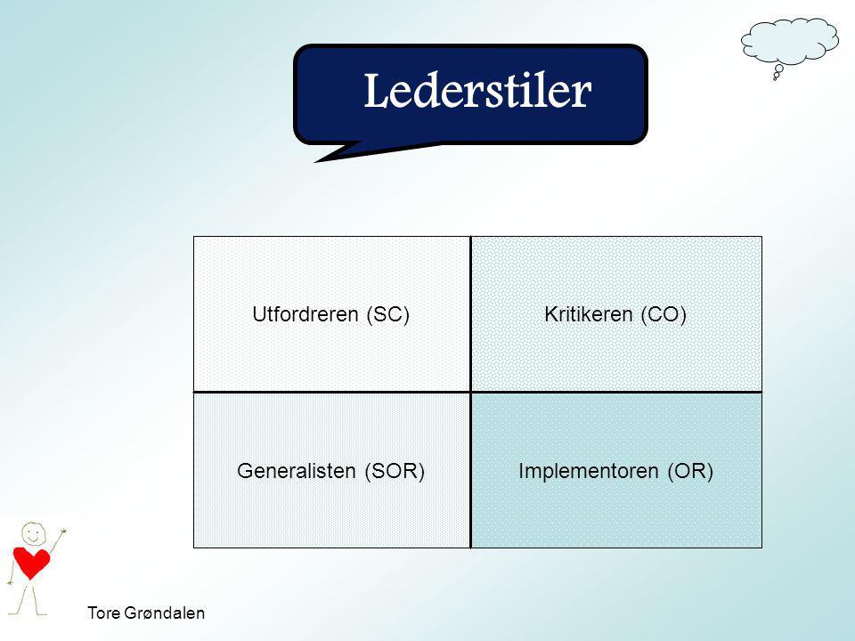Tore Grøndalen Lederstiler Utfordreren (SC)Kritikeren (CO) Generalisten (SOR)Implementoren (OR)