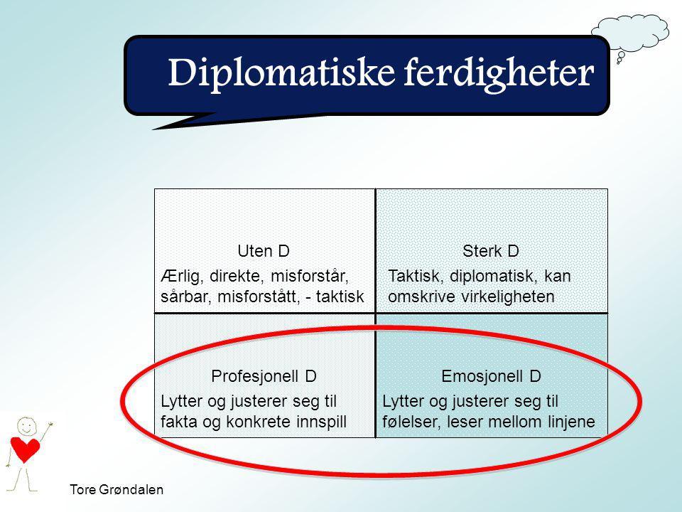 Tore Grøndalen Diplomatiske ferdigheter Uten DSterk D Profesjonell DEmosjonell D Ærlig, direkte, misforstår, sårbar, misforstått, - taktisk Lytter og