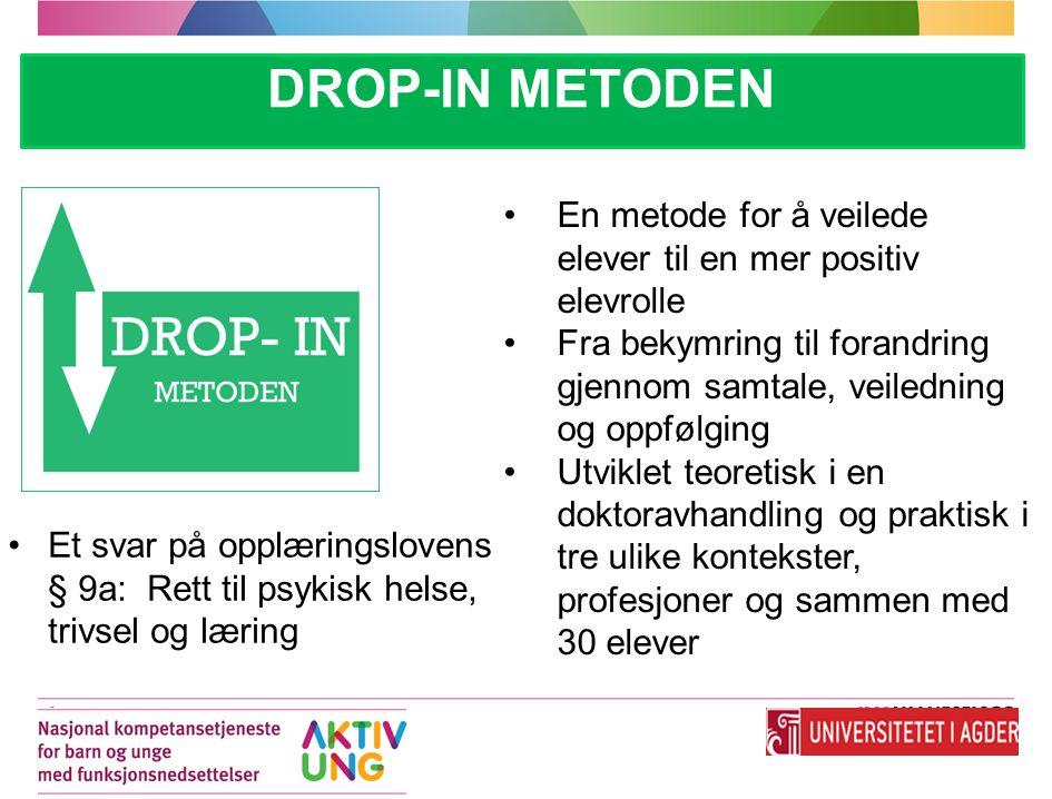 DROP-IN METODEN En metode for å veilede elever til en mer positiv elevrolle Fra bekymring til forandring gjennom samtale, veiledning og oppfølging Utv