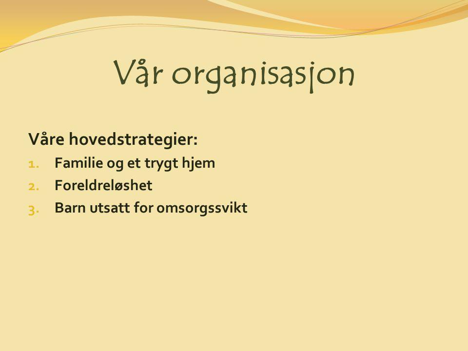 Vår organisasjon Våre hovedstrategier: 1. Familie og et trygt hjem 2.