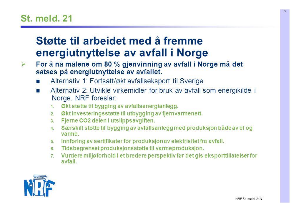 3 NRF St. meld. 21N St. meld. 21 Støtte til arbeidet med å fremme energiutnyttelse av avfall i Norge  For å nå målene om 80 % gjenvinning av avfall i