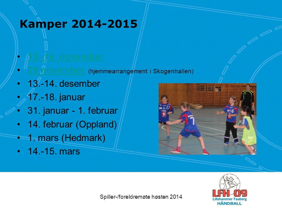 Kamper 2014-2015 15.-16. november 29 november (hjemmearrangement i Skogenhallen)29 november 13.-14. desember 17.-18. januar 31. januar - 1. februar 14