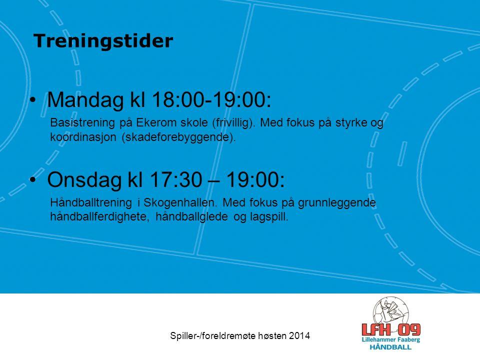 Treningstider Mandag kl 18:00-19:00: Basistrening på Ekerom skole (frivillig). Med fokus på styrke og koordinasjon (skadeforebyggende). Onsdag kl 17:3