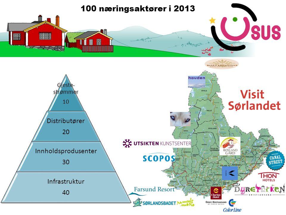 Gjeste- strømmer 10 Distributører 20 Innholdsprodusenter 30 Infrastruktur 40 100 næringsaktører i 2013