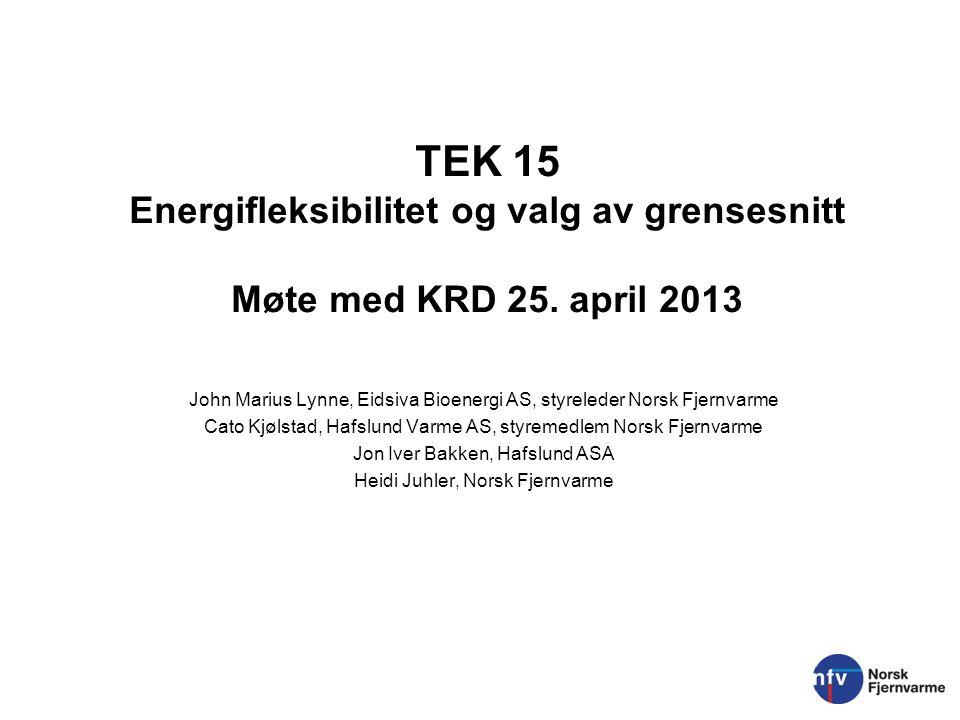 TEK 15 Energifleksibilitet og valg av grensesnitt Møte med KRD 25. april 2013 John Marius Lynne, Eidsiva Bioenergi AS, styreleder Norsk Fjernvarme Cat