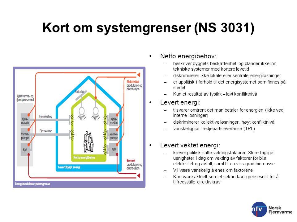 Kort om systemgrenser (NS 3031) Netto energibehov: –beskriver byggets beskaffenhet, og blander ikke inn tekniske systemer med kortere levetid –diskrim