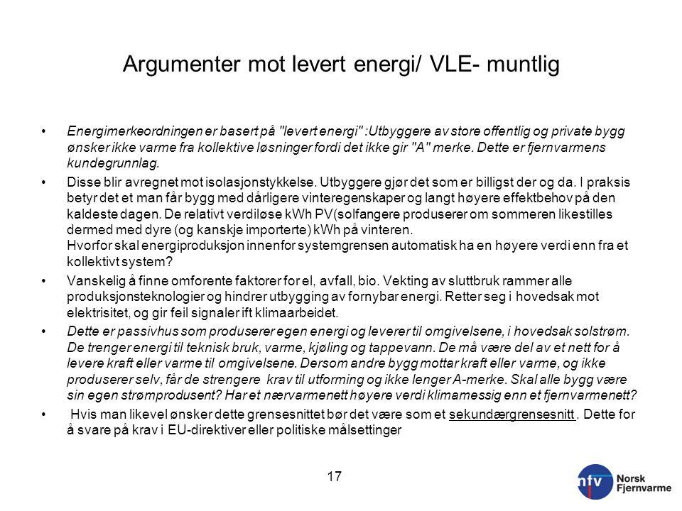 Argumenter mot levert energi/ VLE- muntlig Energimerkeordningen er basert på