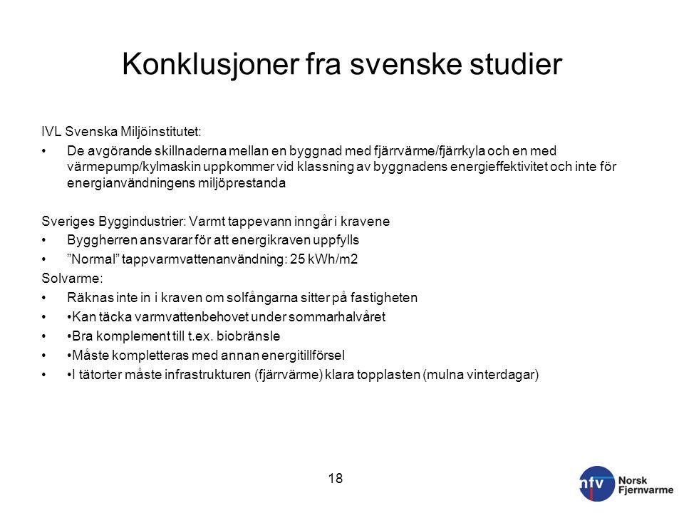 Konklusjoner fra svenske studier IVL Svenska Miljöinstitutet: De avgörande skillnaderna mellan en byggnad med fjärrvärme/fjärrkyla och en med värmepum