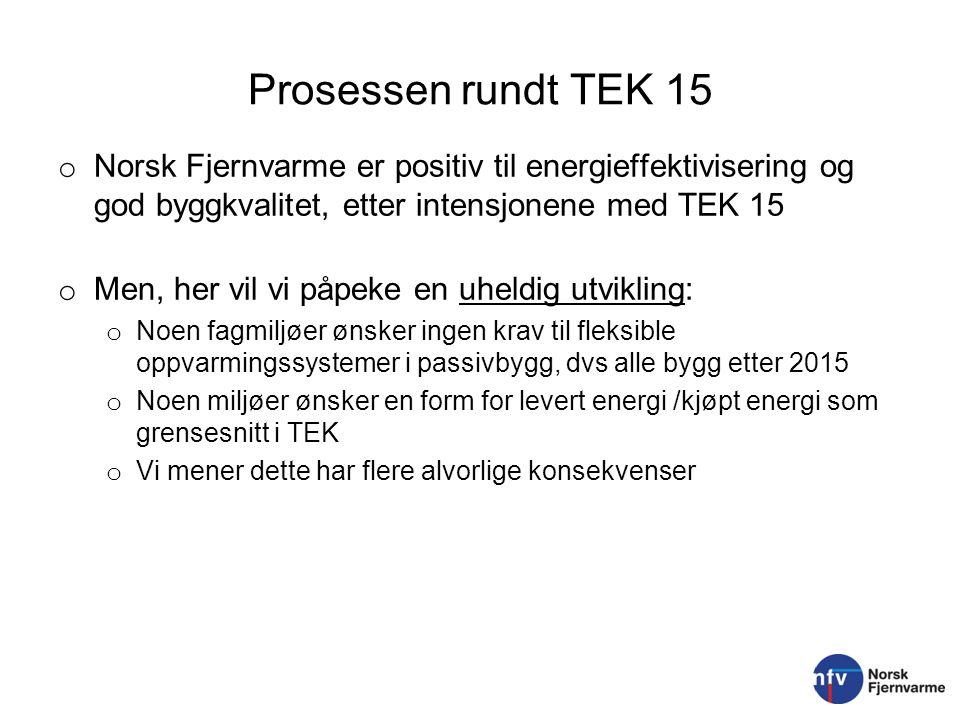 Prosessen rundt TEK 15 o Norsk Fjernvarme er positiv til energieffektivisering og god byggkvalitet, etter intensjonene med TEK 15 o Men, her vil vi på