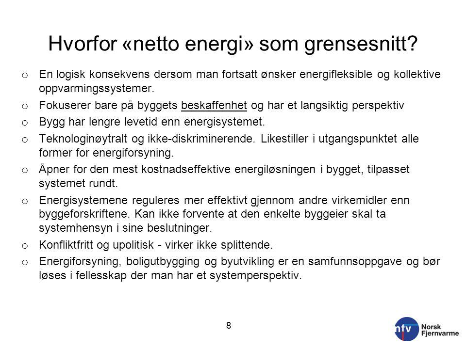 Hvorfor «netto energi» som grensesnitt? o En logisk konsekvens dersom man fortsatt ønsker energifleksible og kollektive oppvarmingssystemer. o Fokuser