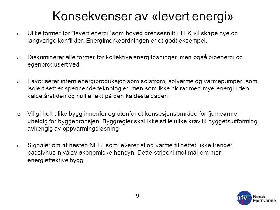 Konsekvenser av «levert energi» o Ulike former for