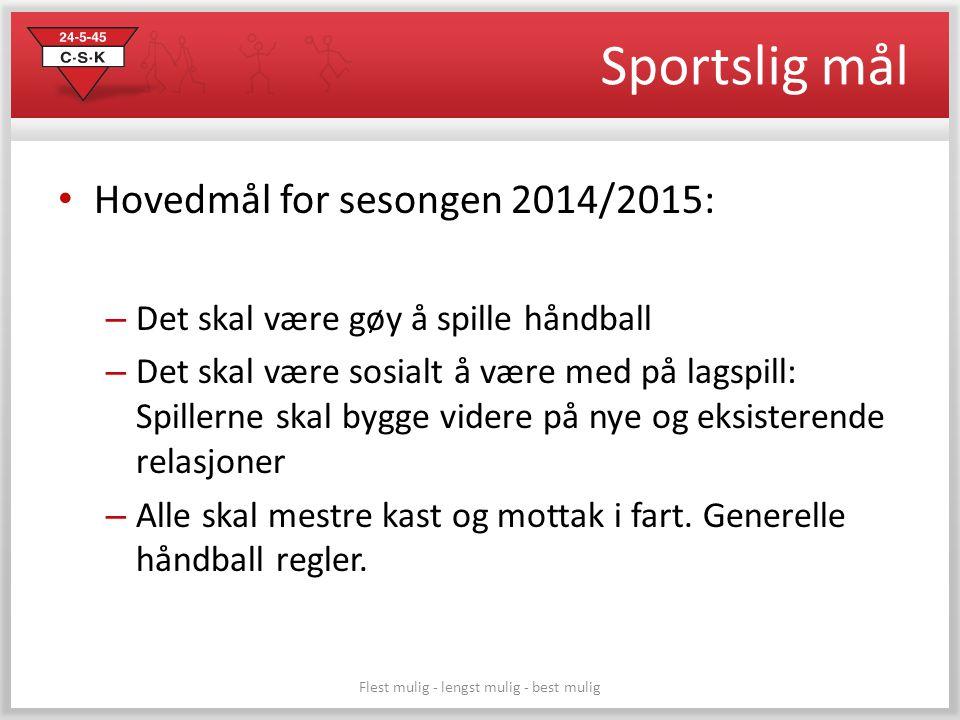 Sportslig mål Hovedmål for sesongen 2014/2015: – Det skal være gøy å spille håndball – Det skal være sosialt å være med på lagspill: Spillerne skal by