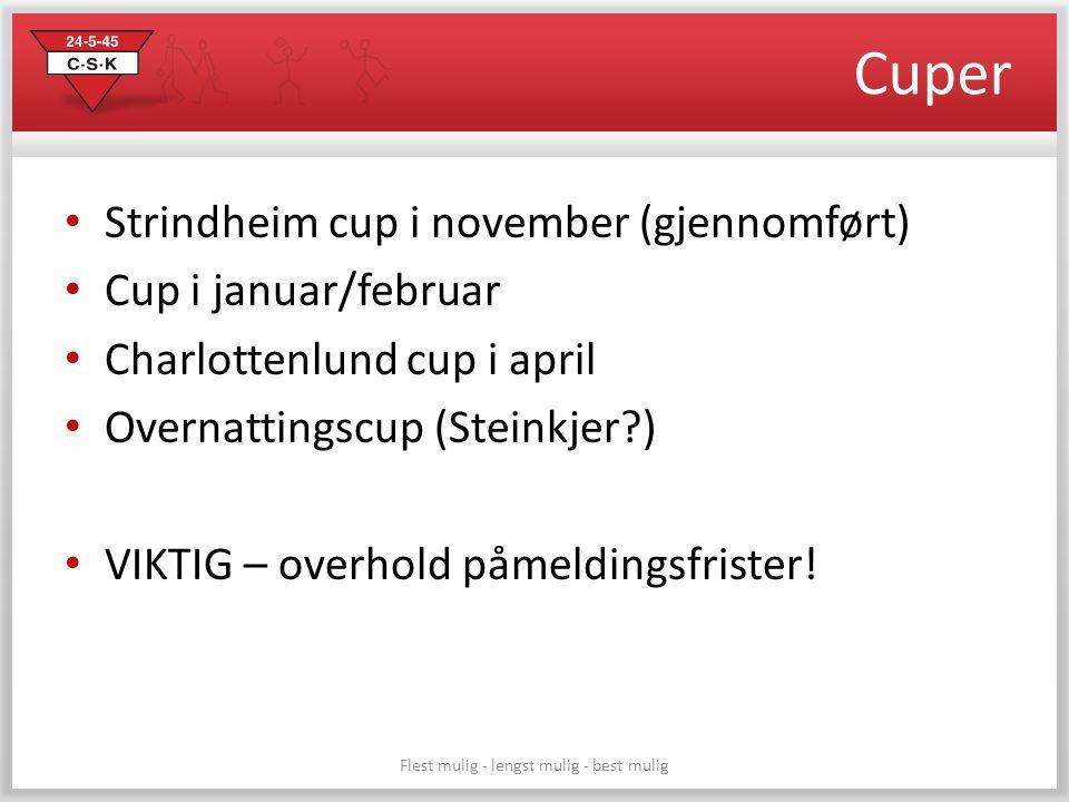 Cuper Strindheim cup i november (gjennomført) Cup i januar/februar Charlottenlund cup i april Overnattingscup (Steinkjer?) VIKTIG – overhold påmelding