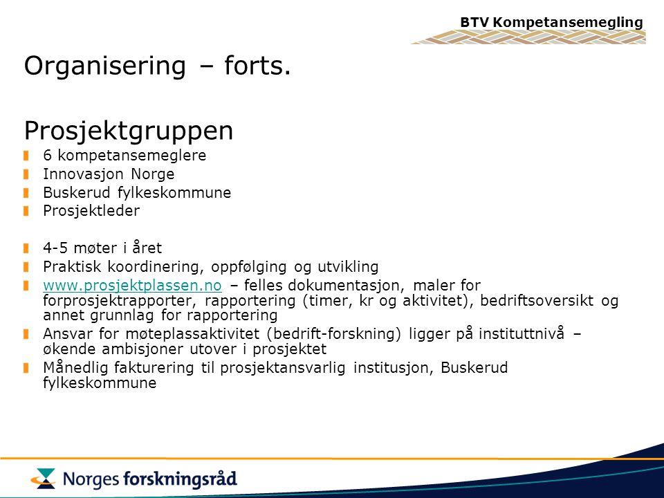 BTV Kompetansemegling Organisering – forts.
