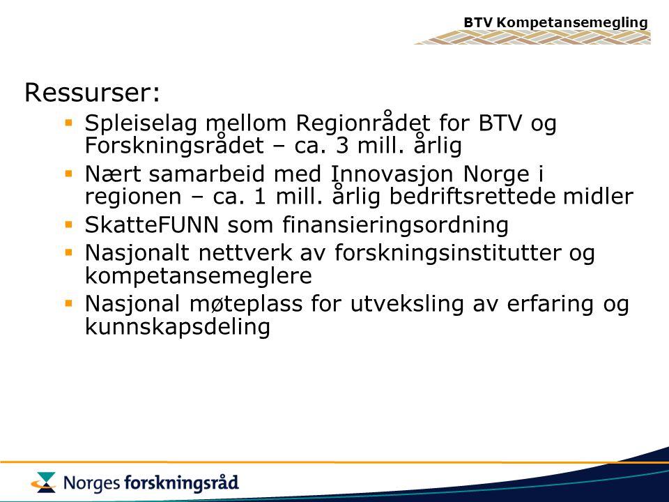 BTV Kompetansemegling Ressurser:  Spleiselag mellom Regionrådet for BTV og Forskningsrådet – ca. 3 mill. årlig  Nært samarbeid med Innovasjon Norge