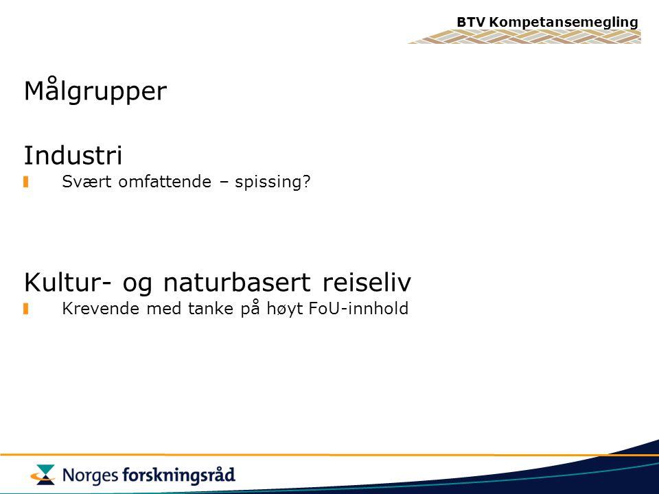BTV Kompetansemegling Målgrupper Industri Svært omfattende – spissing.