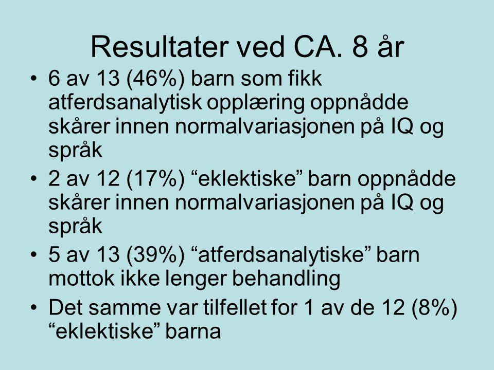 """Resultater ved CA. 8 år 6 av 13 (46%) barn som fikk atferdsanalytisk opplæring oppnådde skårer innen normalvariasjonen på IQ og språk 2 av 12 (17%) """"e"""