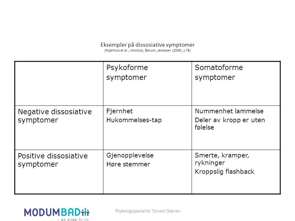 Eksempler på dissosiative symptomer (Nijenhuis et al., i Anstorp, Benum, Jakobsen (2006), s.78) Psykoforme symptomer Somatoforme symptomer Negative di