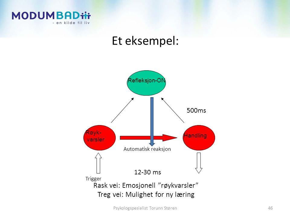 """Et eksempel: Rask vei: Emosjonell """"røykvarsler"""" Treg vei: Mulighet for ny læring Røyk- varsler refleksjon Handling Trigger Refleksjon-ON Automatisk re"""