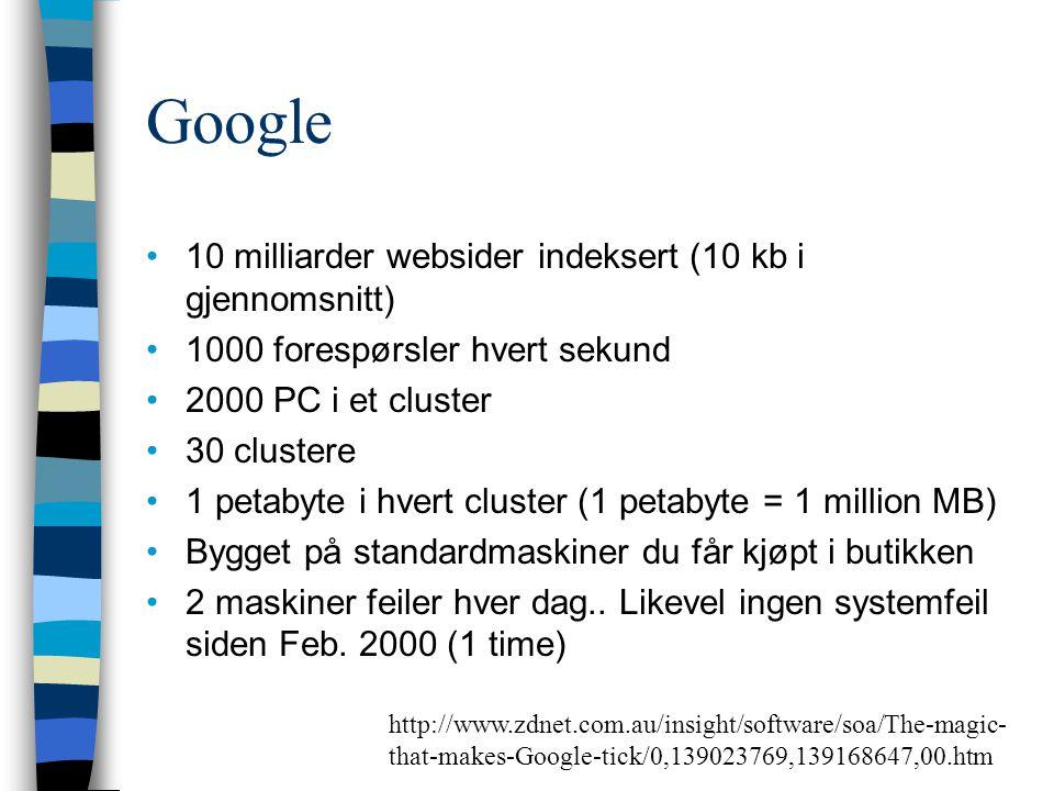 Google 10 milliarder websider indeksert (10 kb i gjennomsnitt) 1000 forespørsler hvert sekund 2000 PC i et cluster 30 clustere 1 petabyte i hvert clus