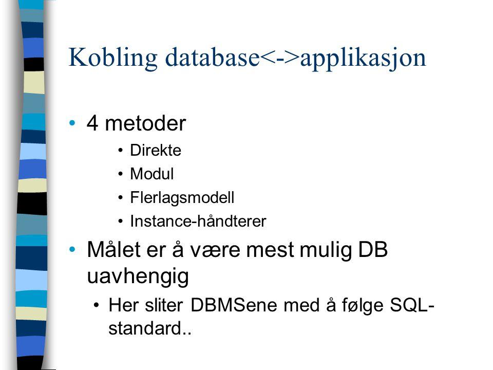 Kobling database applikasjon 4 metoder Direkte Modul Flerlagsmodell Instance-håndterer Målet er å være mest mulig DB uavhengig Her sliter DBMSene med
