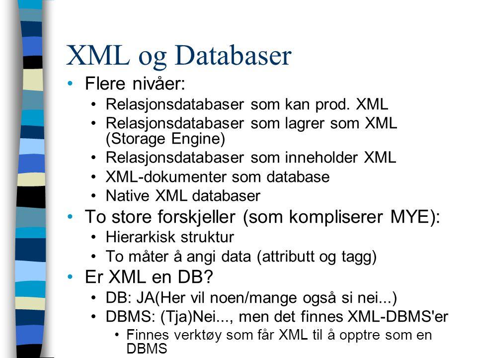 XML og Databaser Flere nivåer: Relasjonsdatabaser som kan prod. XML Relasjonsdatabaser som lagrer som XML (Storage Engine) Relasjonsdatabaser som inne