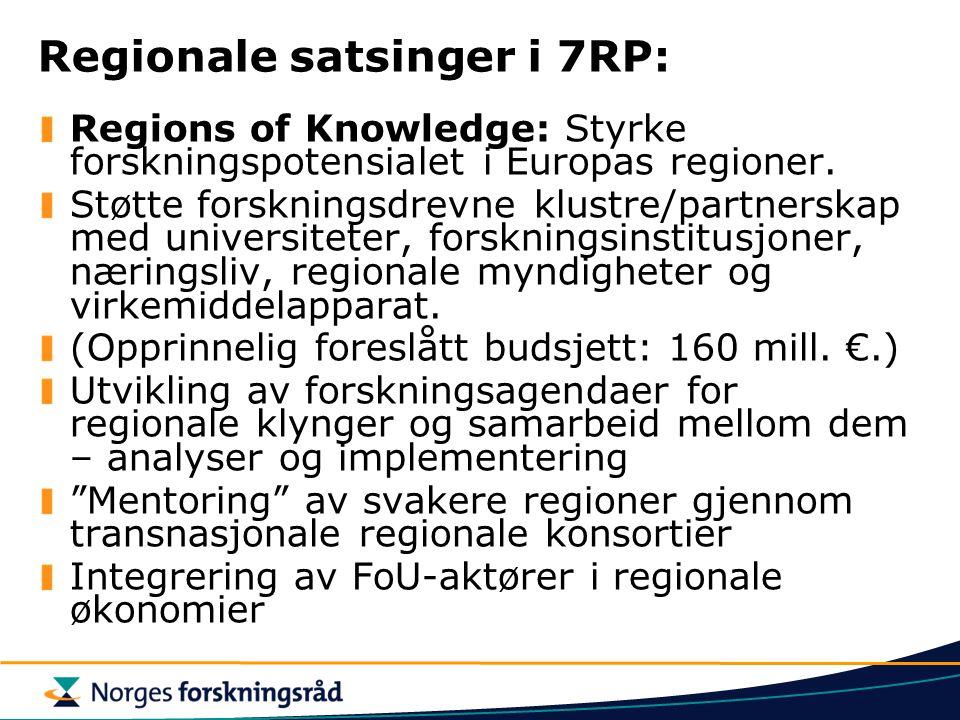 Regionale satsinger i 7RP: Regions of Knowledge: Styrke forskningspotensialet i Europas regioner.