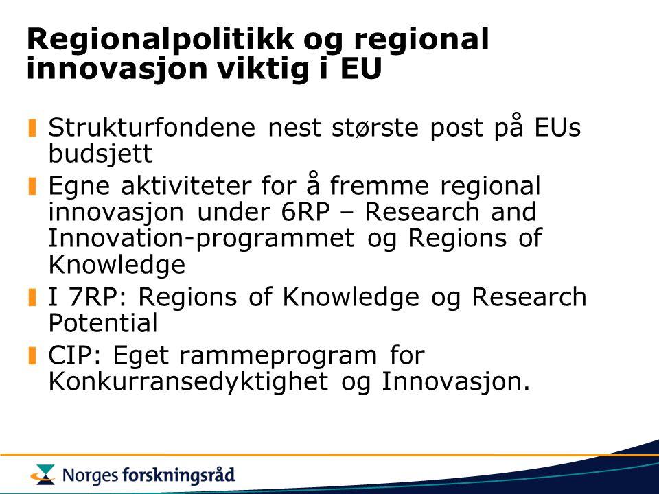 Regionalpolitikk og regional innovasjon viktig i EU Strukturfondene nest største post på EUs budsjett Egne aktiviteter for å fremme regional innovasjon under 6RP – Research and Innovation-programmet og Regions of Knowledge I 7RP: Regions of Knowledge og Research Potential CIP: Eget rammeprogram for Konkurransedyktighet og Innovasjon.