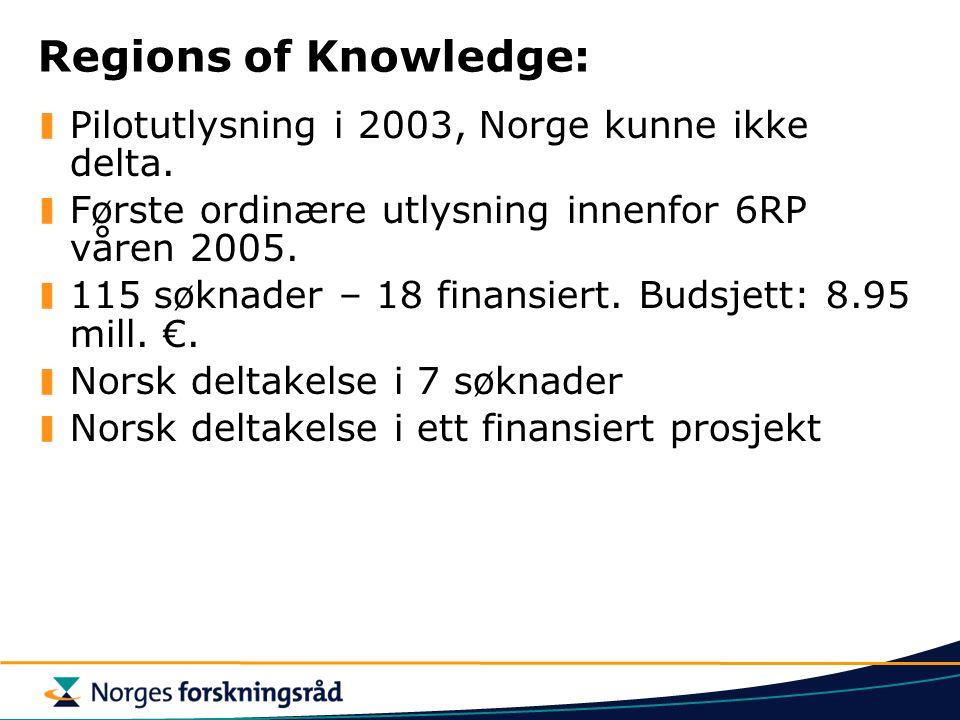 Regions of Knowledge: Pilotutlysning i 2003, Norge kunne ikke delta.