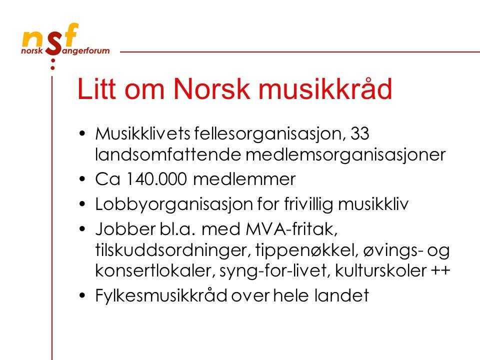 Litt om Norsk musikkråd Musikklivets fellesorganisasjon, 33 landsomfattende medlemsorganisasjoner Ca 140.000 medlemmer Lobbyorganisasjon for frivillig musikkliv Jobber bl.a.
