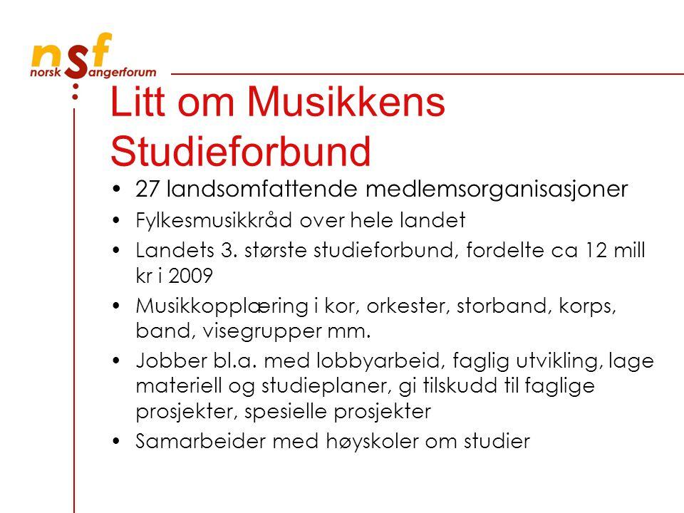 Litt om Musikkens Studieforbund 27 landsomfattende medlemsorganisasjoner Fylkesmusikkråd over hele landet Landets 3.