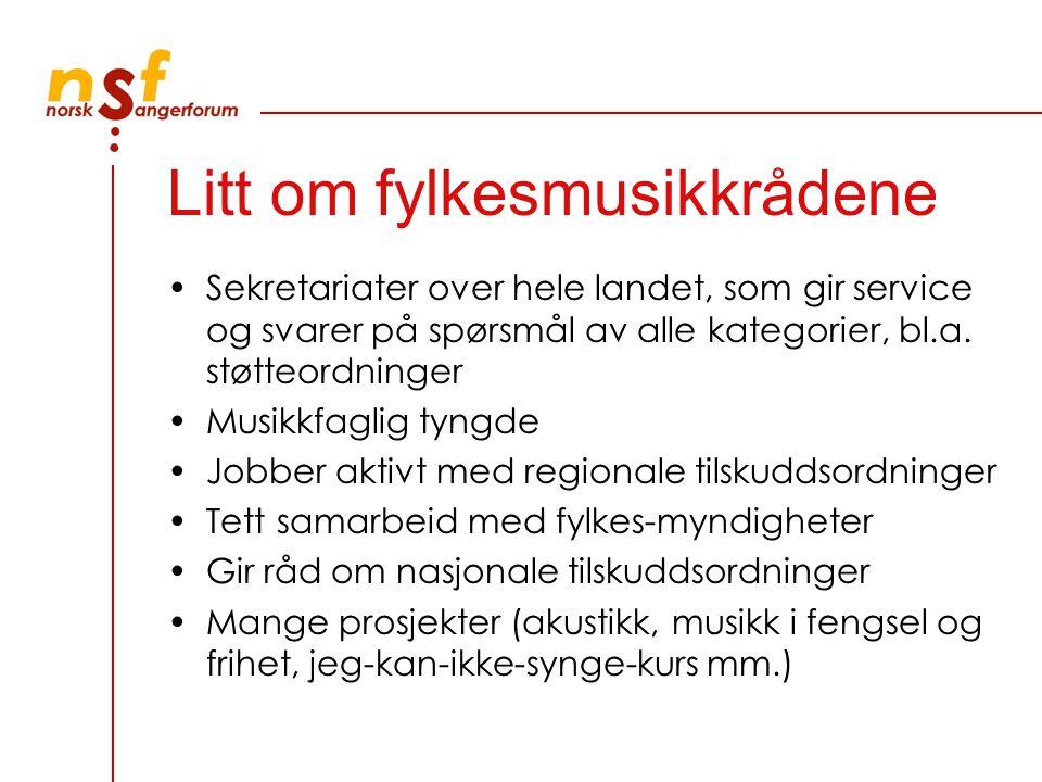 Litt om fylkesmusikkrådene Sekretariater over hele landet, som gir service og svarer på spørsmål av alle kategorier, bl.a. støtteordninger Musikkfagli
