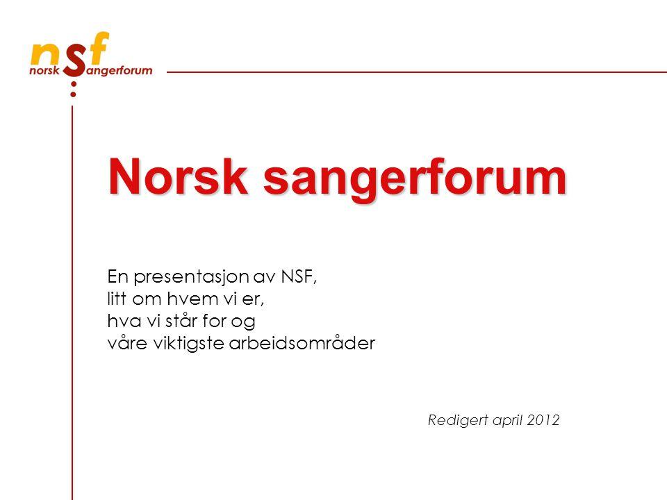 En presentasjon av NSF, litt om hvem vi er, hva vi står for og våre viktigste arbeidsområder Redigert april 2012