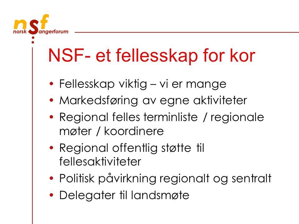 NSF- et fellesskap for kor Fellesskap viktig – vi er mange Markedsføring av egne aktiviteter Regional felles terminliste / regionale møter / koordinere Regional offentlig støtte til fellesaktiviteter Politisk påvirkning regionalt og sentralt Delegater til landsmøte