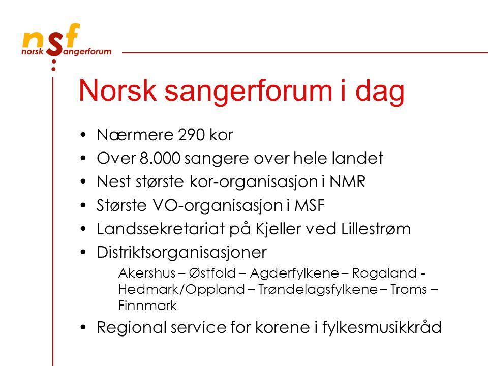 Norsk sangerforum i dag Nærmere 290 kor Over 8.000 sangere over hele landet Nest største kor-organisasjon i NMR Største VO-organisasjon i MSF Landssek