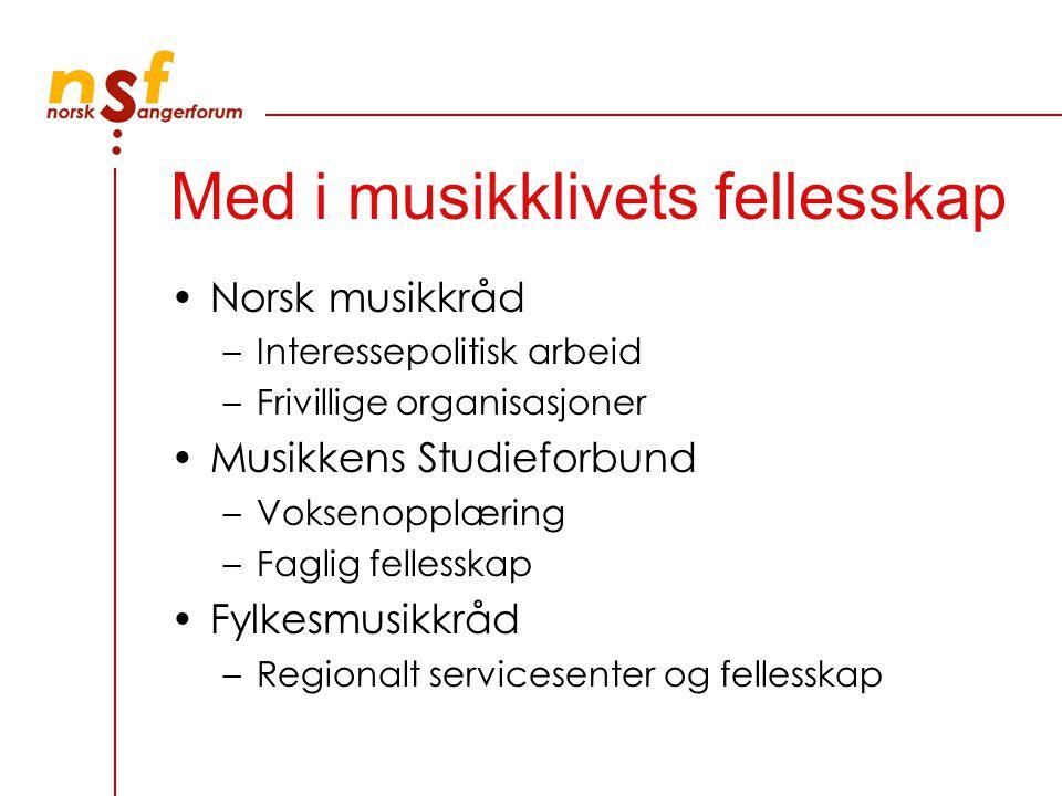 Med i musikklivets fellesskap Norsk musikkråd –Interessepolitisk arbeid –Frivillige organisasjoner Musikkens Studieforbund –Voksenopplæring –Faglig fe