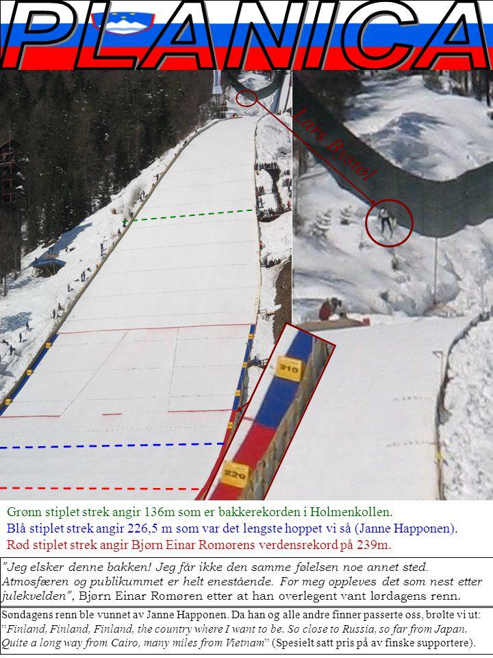Lars Bystøl Grønn stiplet strek angir 136m som er bakkerekorden i Holmenkollen.