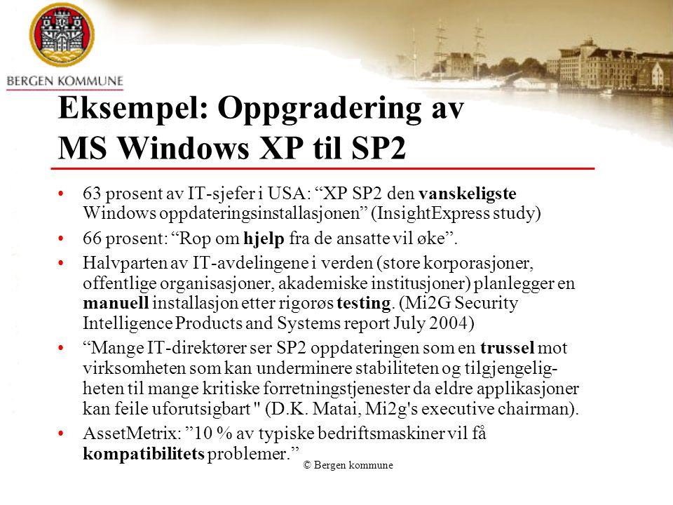 © Bergen kommune Eksempel: Oppgradering av MS Windows XP til SP2 63 prosent av IT-sjefer i USA: XP SP2 den vanskeligste Windows oppdateringsinstallasjonen (InsightExpress study) 66 prosent: Rop om hjelp fra de ansatte vil øke .
