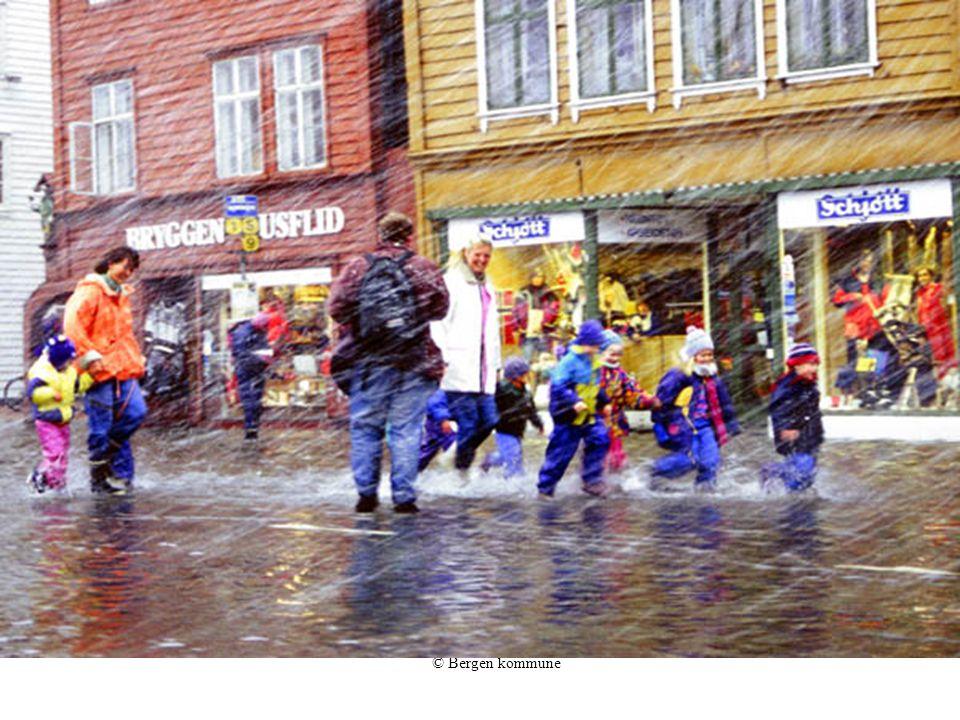 © Bergen kommune Regn i den gamle havnen