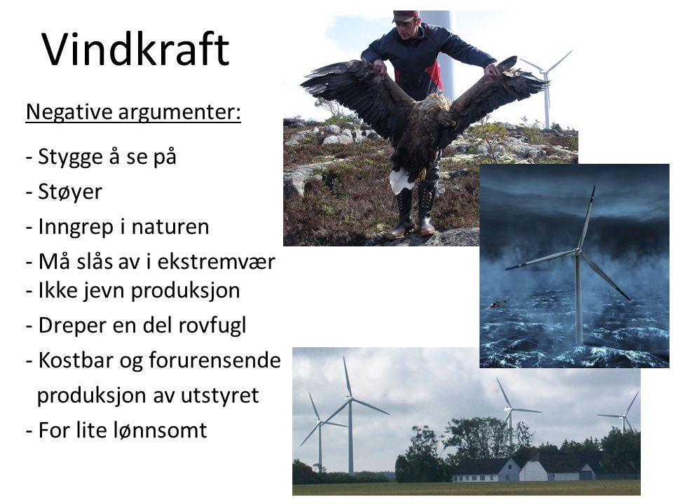 Vindkraft Negative argumenter: - Stygge å se på - Støyer - Inngrep i naturen - Må slås av i ekstremvær - Ikke jevn produksjon - Dreper en del rovfugl