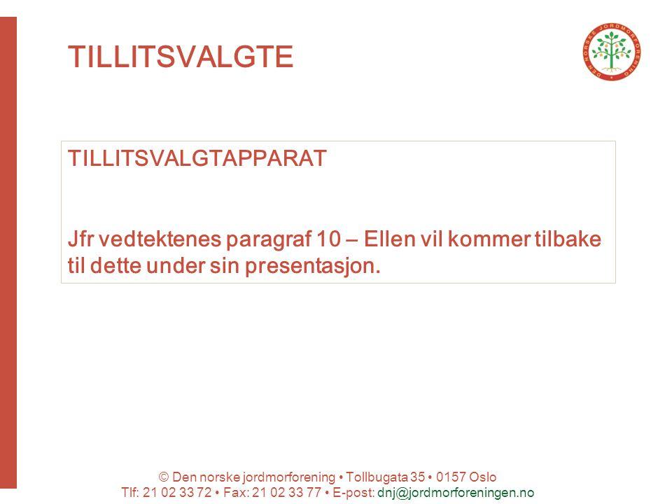 © Den norske jordmorforening Tollbugata 35 0157 Oslo Tlf: 21 02 33 72 Fax: 21 02 33 77 E-post: dnj@jordmorforeningen.no TILLITSVALGTE TILLITSVALGTAPPARAT Jfr vedtektenes paragraf 10 – Ellen vil kommer tilbake til dette under sin presentasjon.