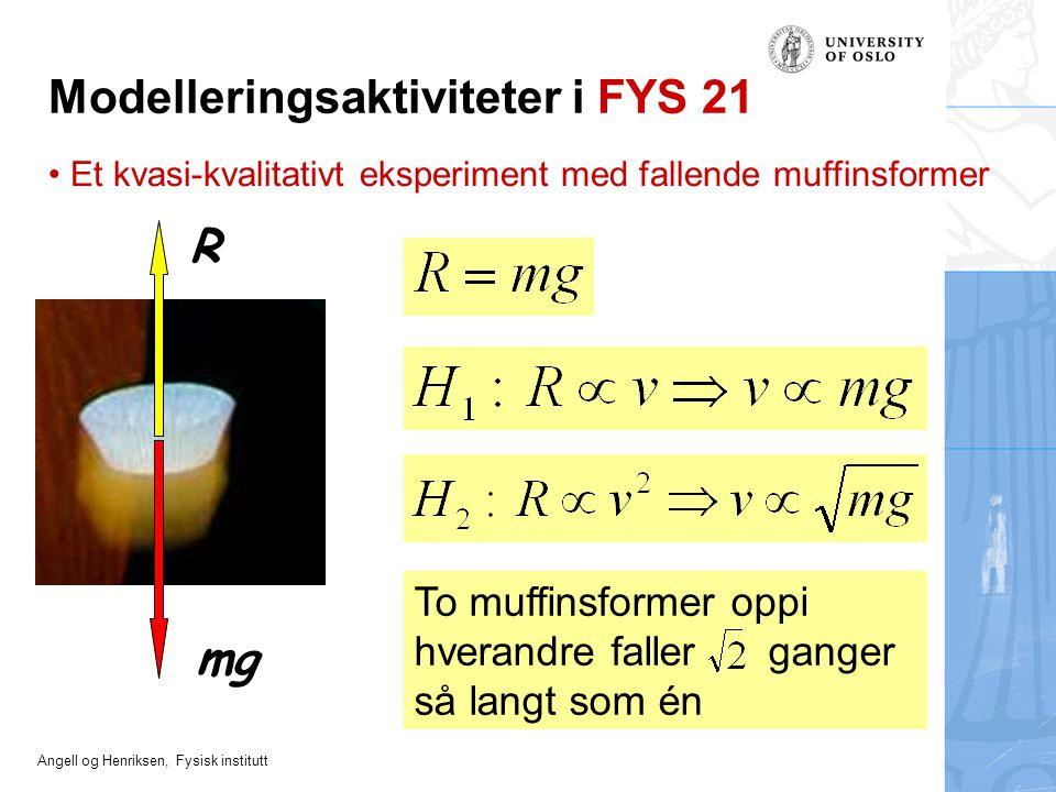 Angell og Henriksen, Fysisk institutt To muffinsformer oppi hverandre faller ganger så langt som én mg R Et kvasi-kvalitativt eksperiment med fallende