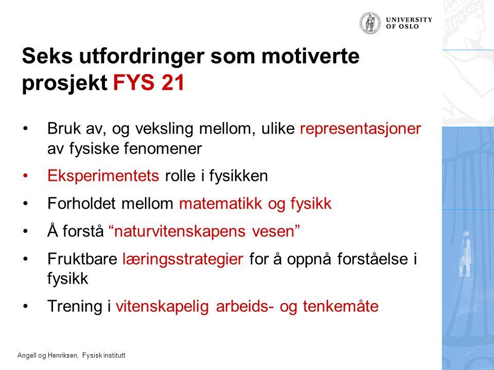 Angell og Henriksen, Fysisk institutt Seks utfordringer som motiverte prosjekt FYS 21 Bruk av, og veksling mellom, ulike representasjoner av fysiske f