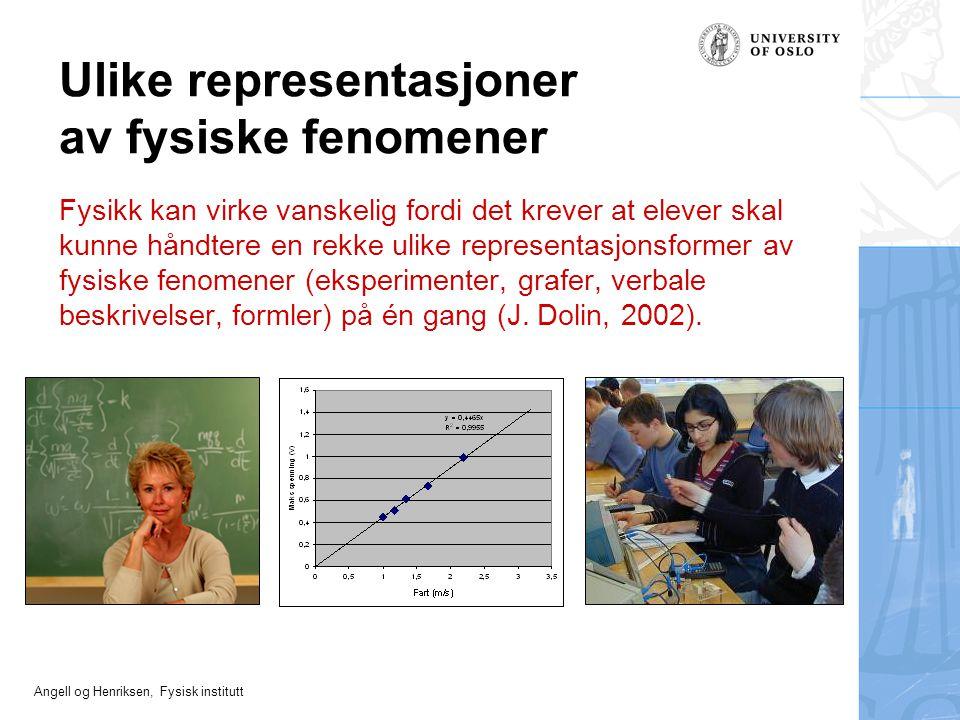 Angell og Henriksen, Fysisk institutt Ulike representasjoner av fysiske fenomener Fysikk kan virke vanskelig fordi det krever at elever skal kunne hån