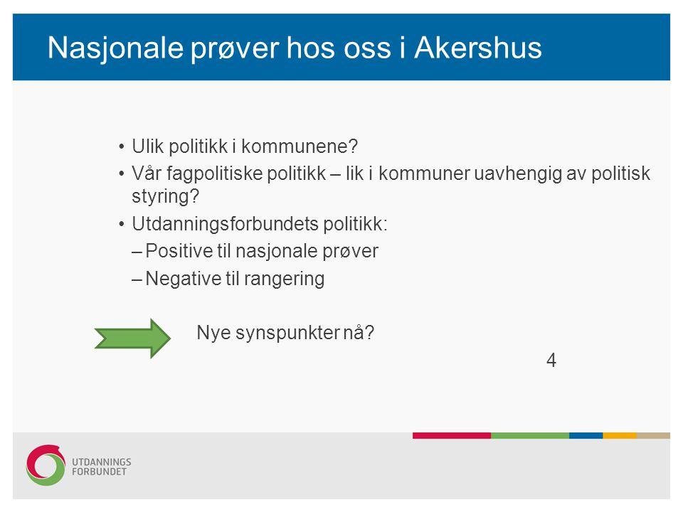 Nasjonale prøver hos oss i Akershus Ulik politikk i kommunene? Vår fagpolitiske politikk – lik i kommuner uavhengig av politisk styring? Utdanningsfor
