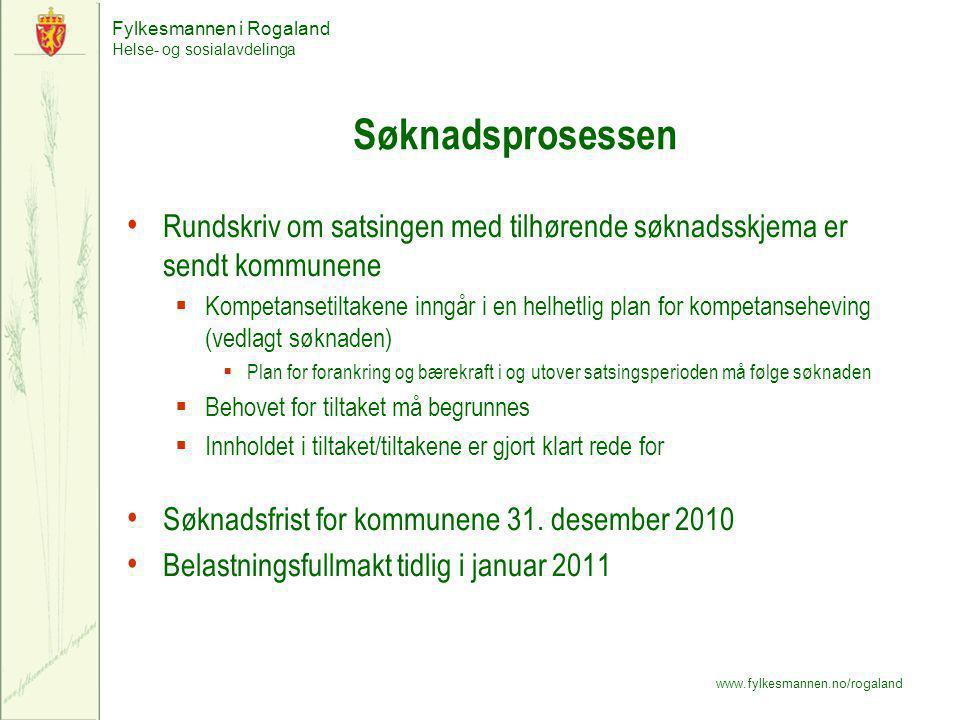 Fylkesmannen i Rogaland Helse- og sosialavdelinga www.fylkesmannen.no/rogaland Søknadsprosessen Rundskriv om satsingen med tilhørende søknadsskjema er