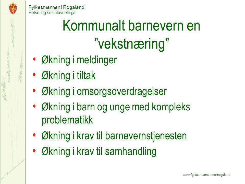 "Fylkesmannen i Rogaland Helse- og sosialavdelinga www.fylkesmannen.no/rogaland Kommunalt barnevern en ""vekstnæring"" Økning i meldinger Økning i tiltak"
