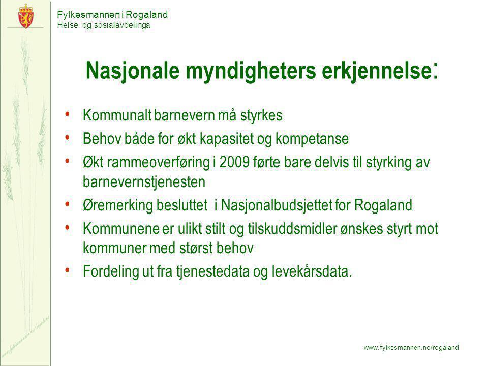 Fylkesmannen i Rogaland Helse- og sosialavdelinga www.fylkesmannen.no/rogaland Nasjonale myndigheters erkjennelse : Kommunalt barnevern må styrkes Beh