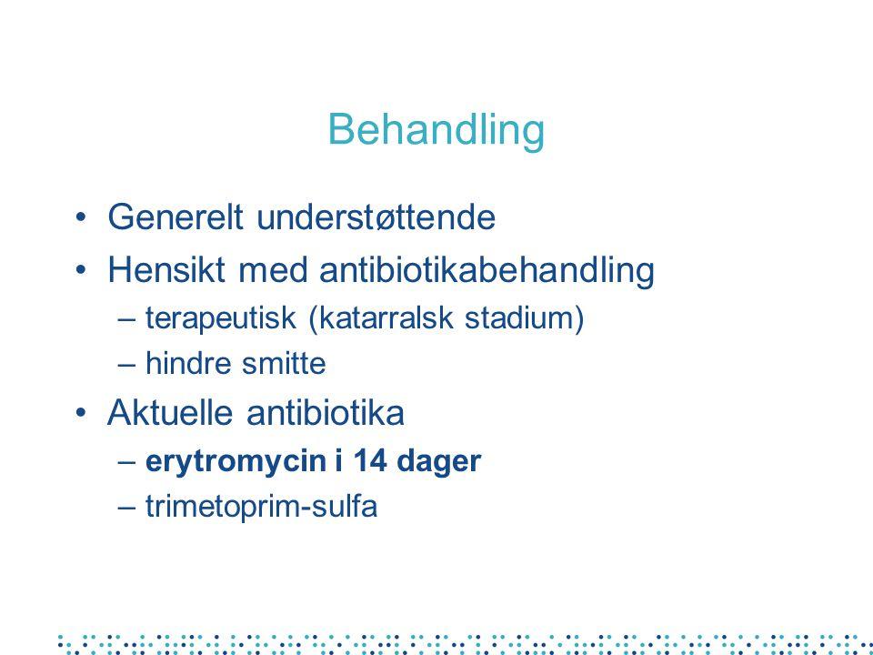 Behandling Generelt understøttende Hensikt med antibiotikabehandling –terapeutisk (katarralsk stadium) –hindre smitte Aktuelle antibiotika –erytromycin i 14 dager –trimetoprim-sulfa